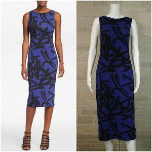 Topshop Blue Graffiti Bodycon Column Midi Dress